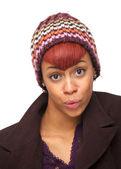 закрыть up портрет девушки афро-американцев — Стоковое фото