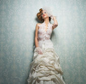 Beautiful Bride Against the Wall — Stock Photo