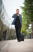 Young Businessman Walking in the City — Stock Photo