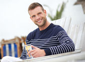 Close Up Portrait of a Smiling Man Outdoors — Stock Photo