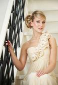 Bride Sitting on Stairs — Fotografia Stock