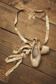 Pair of Ballet Shoes with Ribbon in Heart Shape — Stock Photo