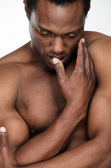 Handsome African American Man Undressed — Stock Photo