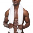 Sexy African American Man with Towel — Stock Photo