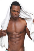 Shirtless African American Man with Towel — Stock Photo