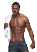 Muscular African American Man with No Shirt — Stock Photo