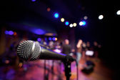Horizontal Microphone on Music Stage — Stock Photo
