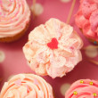 Pink Heart Shape Cupcake — Stock Photo
