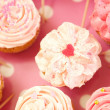 Cupcakes decorated with sprinkles and frosting — Stock Photo