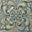 Blue Ceramic Tile with Floral Pattern — Stock Photo
