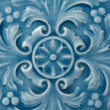 Old blue Ceramic Tile with Floral Pattern — Stock Photo