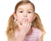 Cute Little Girl Chewing Gum — Stock Photo