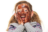 Little Girl with Chocolate Covered Face — Stock Photo