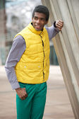 Young African American Man in Colorful Clothing Outdoors — Stock Photo