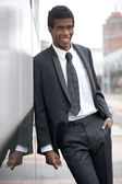 Portrait of an african american businessman smiling — Stock Photo