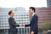 Businessman and business woman greeting with a handshake — Stock Photo