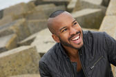 Portrait of a handsome black man smiling — Stock Photo
