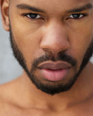 Close up portrait of a african american male model — Stock Photo