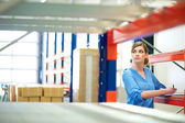 Business woman inspector doing inventory in a warehouse — Stock Photo