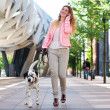 Woman walking her dog and talking on cellphone in the city — Stock Photo