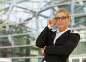 Portrait of a beautiful business woman in glasses — Stock Photo