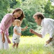 Happy family with child giving flower to father — Stock Photo #28890905