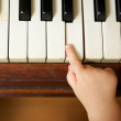 Baby hand playing piano with adult hand — Stock Photo #28937111