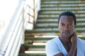 Portrait of a handsome black male model — Stock Photo
