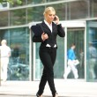 Businesswoman talking on cellphone in the city — Stock Photo