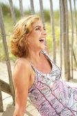 Portrait of a happy woman laughing outdoors — Foto de Stock