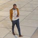 hombre joven de pie y enviar mensaje en el teléfono móvil — Foto de Stock   #31020811