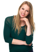 Young female smiling with green sweater — Stock Photo