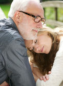 Portrait of a loving father and beautiful daughter together — Stock Photo