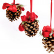Photo: Three pine cones hanging from red ribbons