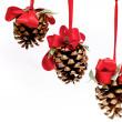 tre kottar hängande från röda band — Stockfoto