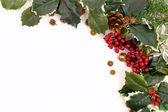Christmas decoration arrangement with holly, berries and pine cones — Stock Photo