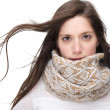 Beautiful young woman with scarf isolated on white background — Stockfoto
