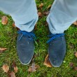 Standing on green grass outdoors — Stockfoto