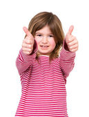 Young girl with thumbs up approval — Stock Photo