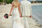 Bride and groom walking hand in hand — Stock Photo
