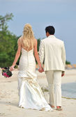 Wedding couple walking on beach — Stock Photo