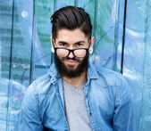 Young man with beard and glasses  — Photo