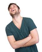 Junger mann mit bart lachend — Stockfoto