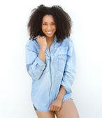 Female fashion model smiling outdoors. — Stock Photo