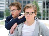Portrait of two cool brothers — Stock Photo