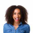 Woman with surprised expression on face — Stock Photo
