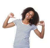 Young black woman smiling with thumbs sign — Stock Photo