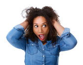 Young woman with scared expression — Stock Photo