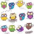 Seamless pattern with color owl in white background — Stock Vector #51696507