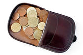 Purse with euro coins — Stock Photo